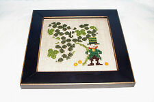 BENT CREEK CLOVER OF CLOVERS LEPRECHAUN COMPLETED CROSS STITCH PICTURE FRAMED
