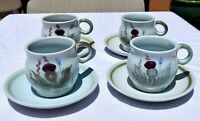 Vintage THISTLEWARE by Buchan Portabello - Set of 4 Tea/Coffee Cups and Saucers