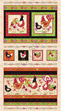 "Rooster Chicken Bird Farm Whimsical Cotton Fabric QT Pecking Order 24""X44"" PANEL"