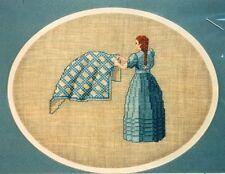 JD Collection MAIDEN WITH IRISH CHAIN QUILT Cross Stitch Chart ~ Jessie H. Davis
