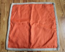 Pottery Barn 20x20 Orange Linen Jute Braid Trim Square Throw Pillow Case Cover