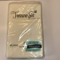 Cotton 2 Pillowcases NOS Treasure Chest Vintage Muslin  Montgomery Ward USA New