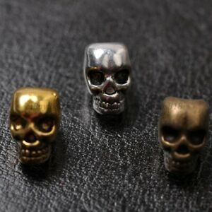10Pcs Tibetan Silver Skull Charms Loose Spacer Beads 12X8MM A810