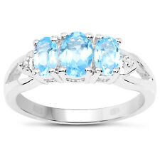 Sterling Silver 3 Stone Blue Topaz Engagement Ring Diamond Shoulders Size I - W