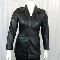 Wilson's Leather Women's Jacket Size Medium Button Down Long Sleeve Black Fitted