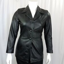 Wilson's Leather Women's Jacket Size Medium Button Down Black Fitted