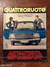 Quattroruote 118 ottobre 1965 - Volkswagen 1600 TL, Audi 1700, novità abarth