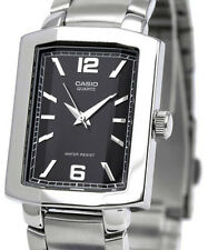 Casio Mens Faceted Square Black Dial Stainless Steel Band Watch MTP-1233D-1A New