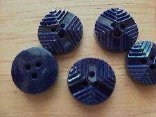 8 SHINY NAVY BLUE VINTAGE CASEIN PLASTIC RIDGED DECO Buttons NOS SEW CRAFTS 14mm