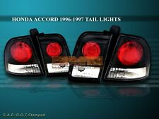 Fit For 1996 1997 HONDA ACCORD TAIL LIGHTS JDM BLACK 4 PIECES
