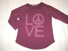 H&M Shirt 3/4 Arm LOVE Peace dunkel rot bordeaux Gr. 152 158 164 GLITZER wie NEU