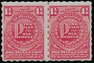 RS306p MNH PAIR DR. WILLIAMS MEDICINE CO. 1 1/4c US Private Die Revenue Stamps
