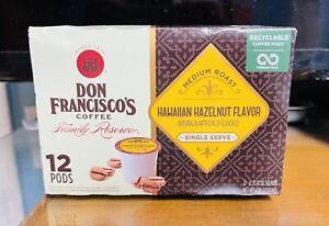 Don Francisco's Coffee HAWAIIAN HAZELNUT 12 Count K-Cup Pods Keurig. Exp 5/29/21