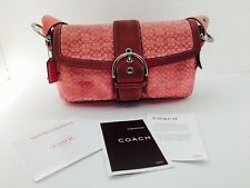 Coach  Signature Buckle Flap Shoulder Purse Pink Leather and Suede
