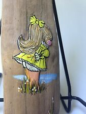 Retro Vintage Driftwood Hand painted Art Wall Hanging Girl Picking Flowers