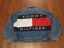 Men's VTG 90's Tommy Hilfiger Jeans Big Logo Spell Out Denim Trucker Jacket sz M