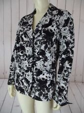 Coldwater Creek Blazer M (10-12) Black White Gray Floral Cotton Unlined