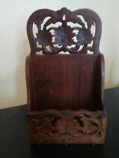 Vintage Hanging Indian Wooden Pierced Decorated  Letter And Key Rack
