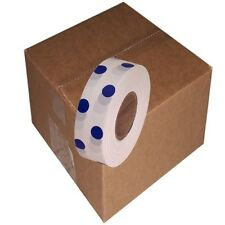 White / Blue 12 Rolls Flagging Polka Dot Tape 1 3/16 in x 300 ft Non-Adhesive