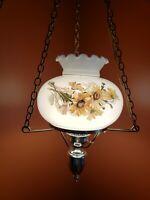 Vintage Yellow Sunflower/Daisy Hurricane Hanging Lamp w Painted Globe Milk Glass