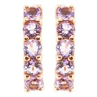 EARTH MINED 4MM PINK AMETHYST AAA+ GEM ROSE GOLD & STERLING SILVER 925 EARRING