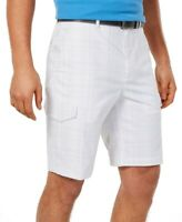 Greg Norman Mens Fairway Cargo Golf Shorts White Gray Size 38 Plaid $55- 388