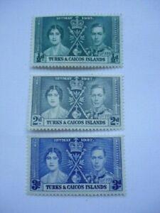 Turks & Caicos Islands KGVI 1937 SG191-3 1/2d-3d MM (light) Coronation