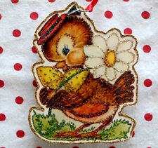 Glittered Wooden Christmas ORNAMENT~Bird with Daisy~Vintage Card Image~`