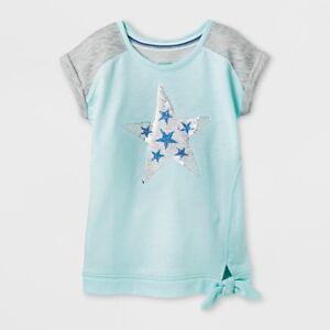 NWT CAT & JACK Girls Reversible Flip Sequin STAR Top Shirt Cap Sleeve S or L