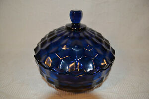 1960's Indiana Glass Whitehall Cubist Dark Deep Blue Candy Dish With Lid
