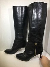 Nine West Vintage Women's Size 8.5 Black Leather Tall Boots Shoes $190 ZG-542