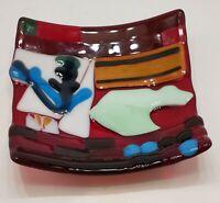 "Fusion Art Glass Candy Dish  5.75""×5.75"" Multi-Colors"