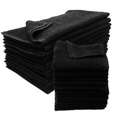 24 NEW BLACK SALON GYM SPA TOWELS RINGSPUN HAND TOWELS 16X27 2.9 LB