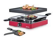 Spring Raclette4 Classic rot mit Aluguss Grillplatte genialer Pfännchenablage