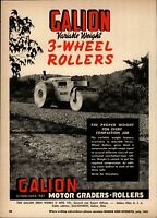 1951 Galion Iron Works Print Advertisement: Variable Weight 3 Wheel Road Rollers
