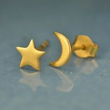 24K Satin Gold Plated Moon Star Post Earrings Celestial Night Sky Mismatched Set