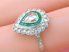 ART DECO .90ctw PEAR ROSE DIAMOND .25ctw EMERALD HALO PLATINUM ENGAGEMENT RING