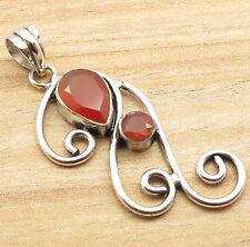 Red CARNELIAN 2 Stone HANDMADE Pendant, Silver Plated NOUVEAU Jewelry