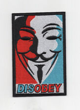 """V"" For Vendetta Disobey Patch 5 inches tall"