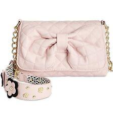 Betsey Johnson Quilted Flap Floral Garden StrapShoulder Handbag Blush Pink