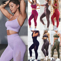 Women Sports Suit Seamless Yoga Bra&Pants Fitness Leggings Gym Stretch Sportwear