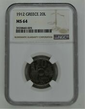 Greece 1912 20 Lepta - UNC NGC MS64 Rare