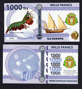 ★★ ILE EUROPA ● TAAF ● BILLET POLYMER 1000 FRANCS ★★ COLONIE FRANCAISE