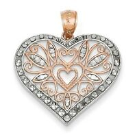 14K TWO TONE ROSE GOLD DIAMOND CUT FILIGREE HEART PENDANT - 1.65 GRAMS