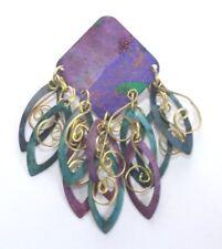 & Aqua Painted - Gold Tone - India Brooch Pin - Square - Dangle - Purple Green