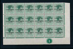 BAHAMAS 1942 COLUMBUS LANDFALL OPT 1/2d CONTROL BLOCK of 18 UNMOUNTED MINT...L2