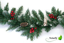 Tannengirlande Künstlich Beschneit mit Zapfen Beeren Schnee Weihnachtsgirlande