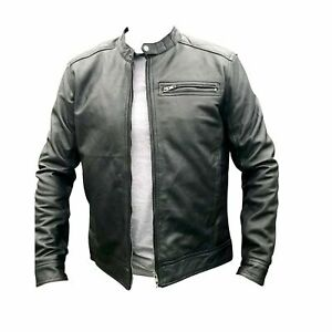 Mens Real Leather Motorcycle Perfecto Jacket Short Casual New Sheep Leather