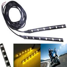 2x 6LED 5050 SMD Motorcycle LED Strip Turn Signal Indicator Blinker Light Yellow