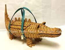 Kate Spade PXRU8520 Swamped 3D Wicker Alligator Satchel Bag Purse Straw NWT Rare